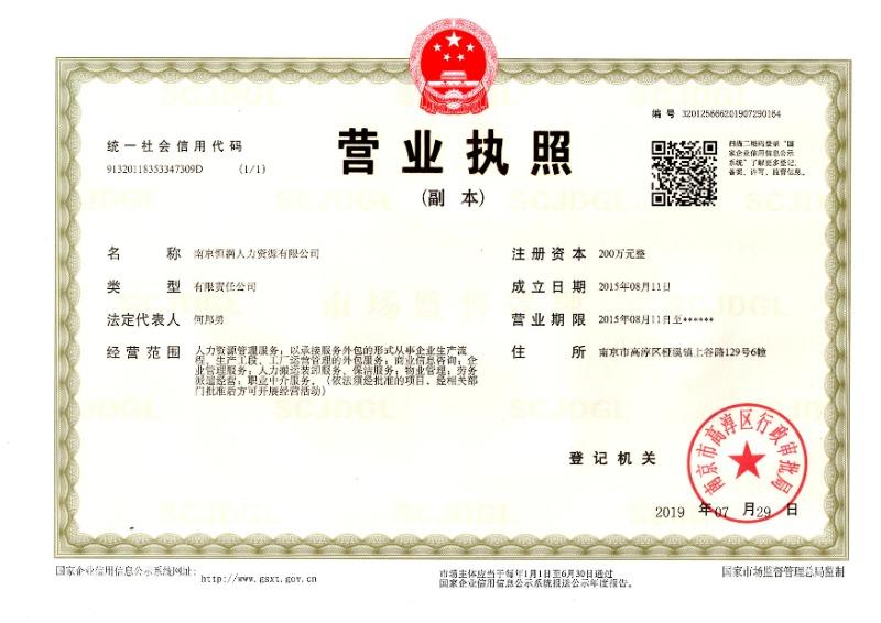 南京恒满人力资源有限公司
